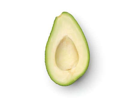 Fresh half sliced avocado isolated on white background. Top view