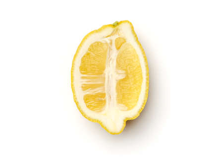 Half of lemon isolated on white background. Top view