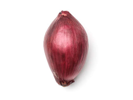 Red onion isolated on white background. Top view. Flat lay 写真素材