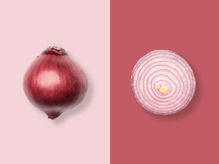 Layout of red onion. Creative food concept. Flat lay. Top view