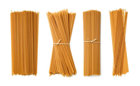 Collection of buckwheat pasta isolated on white background. Set of multiple images. Part of series 写真素材
