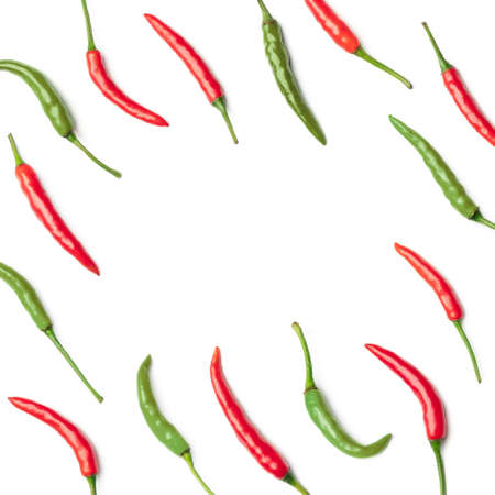 Collection of red chilli peppers isolated on white background. Set of multiple images. Part of series 写真素材