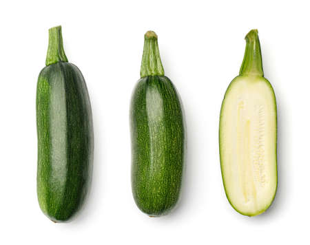 Collection of zucchini isolated on white background. Set of multiple images. Part of series
