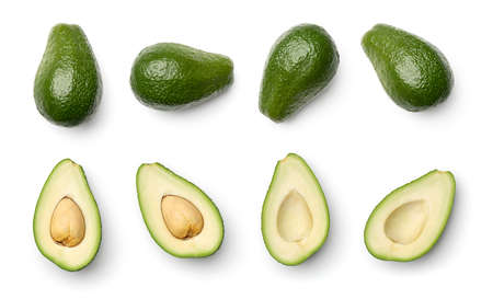 Collection of avocados isolated on white background. Set of multiple images. Part of series Stock fotó