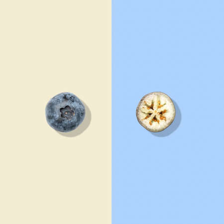 Layout of blueberry. Creative food concept. Flat lay. Top view Stock Photo
