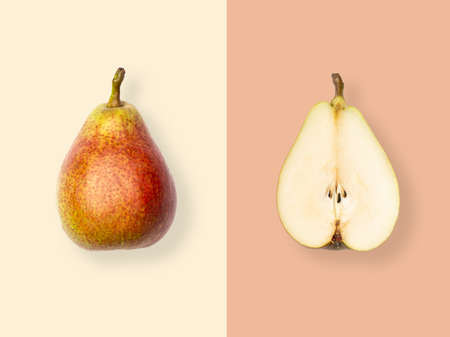 Layout of pear. Creative food concept. Flat lay. Top view