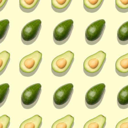 Seamless pattern with avocado. Abstract background. Top view