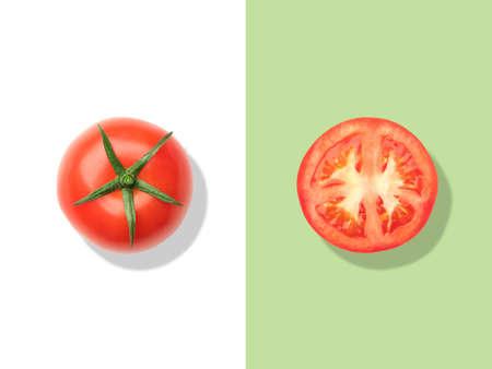Layout of tomato. Creative food concept. Flat lay Foto de archivo