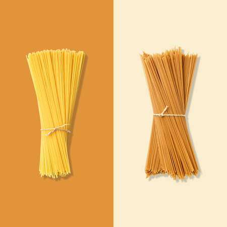 Layout of spaghetti. Creative food concept. Flat lay