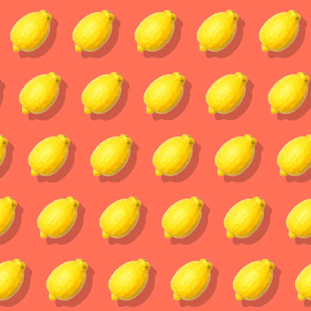 Seamless pattern with lemon. Abstract red background