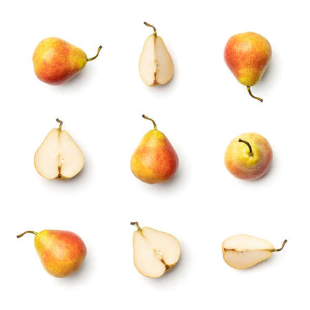 Collection of pears isolated on white background. Set of multiple images. Part of series Foto de archivo
