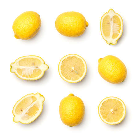 Collection of lemons isolated on white background. Set of multiple images. Part of series