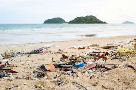Spilled garbage on the beach. Empty used dirty plastic bottles. Environmental pollution. Ecological problem Foto de archivo