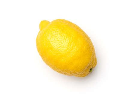 One yellow lemon isolated on white background Foto de archivo
