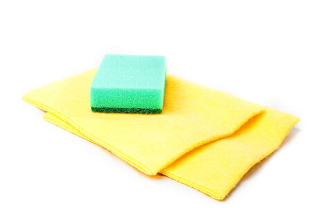 Cleaning sponges isolated on white background photo