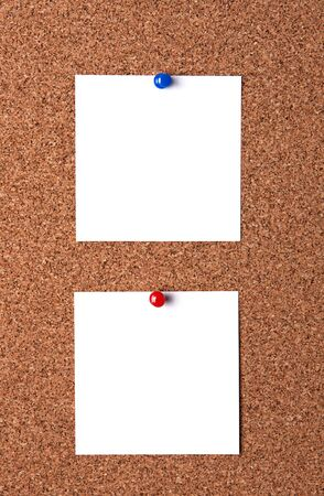 Two message papers pinned to cork board Stock Photo - 14016488