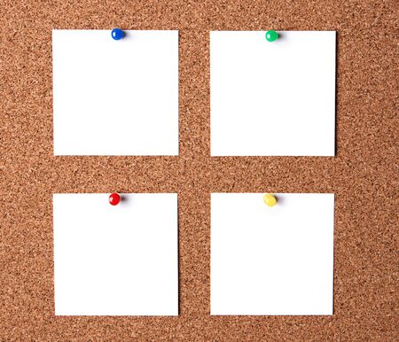 Several message papers pinned to cork board Stock Photo - 14016486