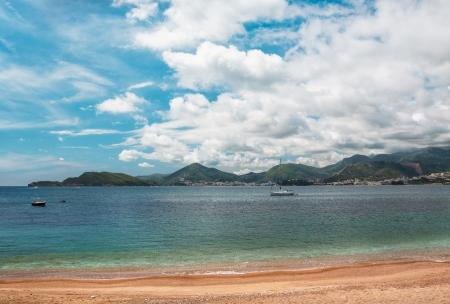 horrizon: Sea beach at montenegro, mountains on horrizon Stock Photo