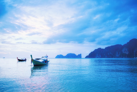 Seascape of sunrise at Phi Phi islands, Thailand