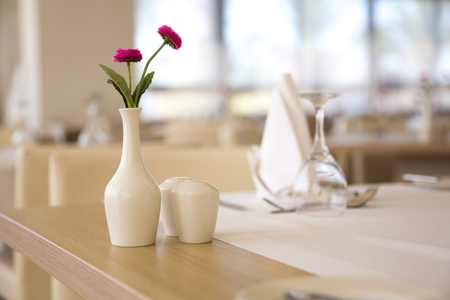 Empty restaurant table, served for the lunch