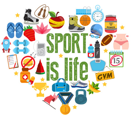 sports form: Sports symbols in the form of heart