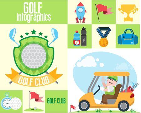Golf club, golf infographic Illustration