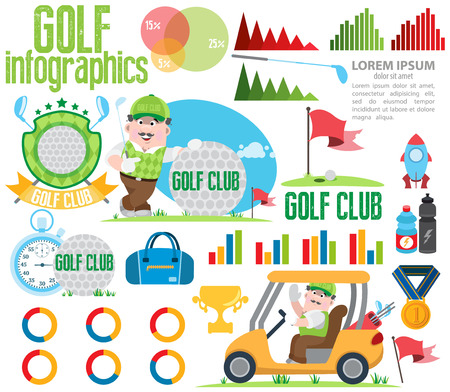 Golf club, golf infographic 矢量图像