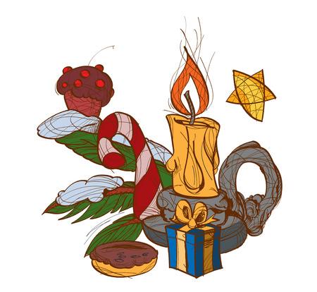 burning candle: Burning candle in candlestick, christmas