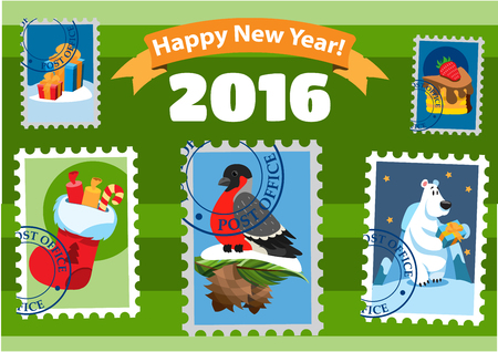 post office: Set of postage stamps, happy new year, post office, 2016