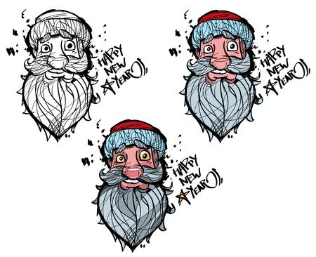 saint nicholas: Santa Claus head, illustration of Santa Claus, Saint Nicholas, father christmas head, happy new year