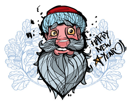 kringle: Happy Santa Claus face on the white background with acorn, happy new year