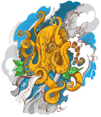 Yellow octopus, wildlife, tattoo