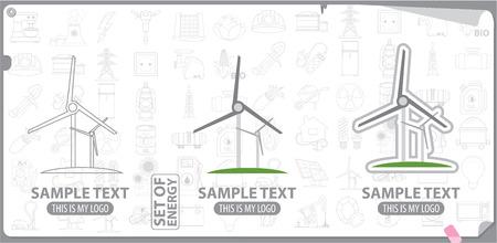 regenerating: Logo wind generator or windmill, energy, energetics
