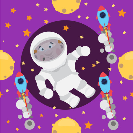 halogen: Childish seamless space pattern with planets,  rockets and stars.