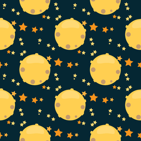 meteor crater: Childish seamless space pattern with planets,  rockets and stars.