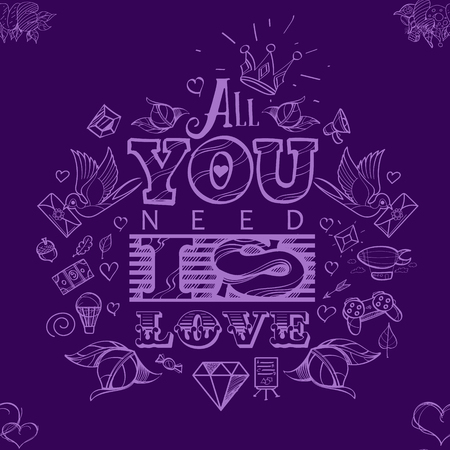 compliments: Purple hearts - seamless vector pattern