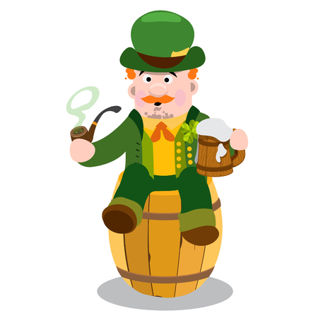 smokers: Man in the Irish pub. St. Patrick with a mug of foamy beer. The festive character in cartoon style. Congratulations to the St. Patricks Day.