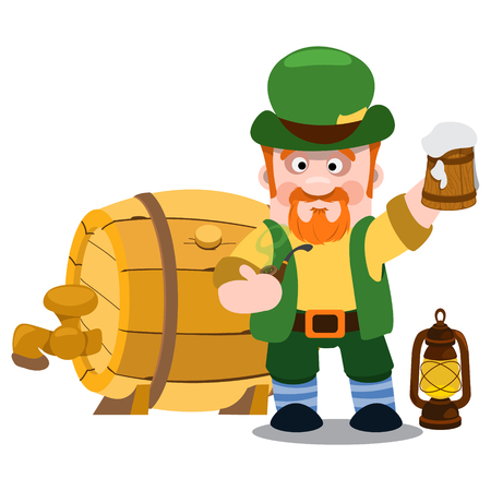 irish pub: Man in the Irish pub. St. Patrick with a mug of foamy beer. The festive character in cartoon style. Congratulations to the St. Patricks Day.