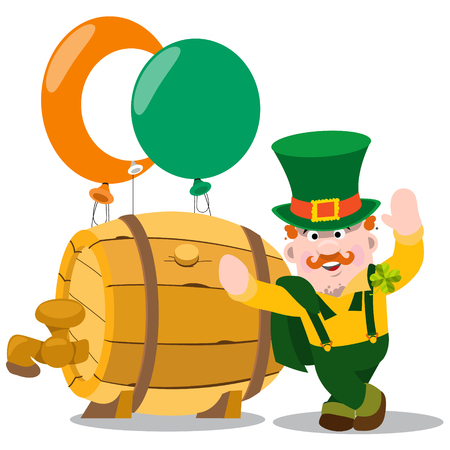 midget: Man in the Irish pub. St. Patrick with a mug of foamy beer. The festive character in cartoon style. Congratulations to the St. Patricks Day.