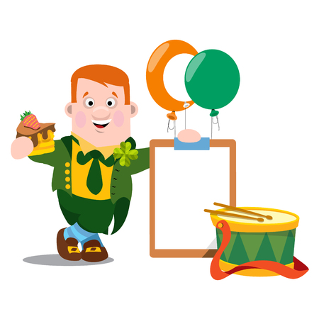 dwarf costume: A man with a piece of cake in a green suit. The festive character in cartoon style. Congratulations to the St. Patricks Day. Illustration
