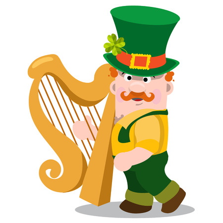 midget: The man with the golden harp in a green suit. The festive character in cartoon style. Congratulations to the St. Patricks Day. Illustration