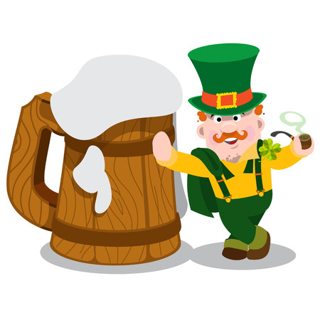 irish pub: Man in the Irish pub. St. Patricks and a huge mug of foamy beer. The festive character in cartoon style. Congratulations to the St. Patricks Day. Illustration