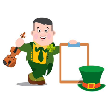 A man with a violin and a tablet in a green suit. The festive character in cartoon style. Congratulations to the St. Patricks Day. Illustration