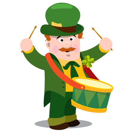 A man with drum. The festive character in cartoon style. Congratulations to the St. Patricks Day. Ilustração