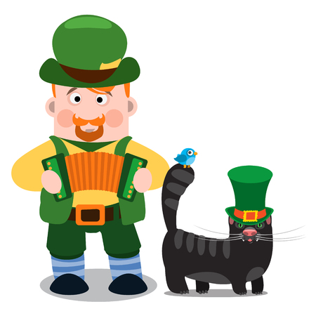 dwarf costume: A man with an accordion and a black cat. The festive character in cartoon style. Congratulations to the St. Patricks Day. Illustration