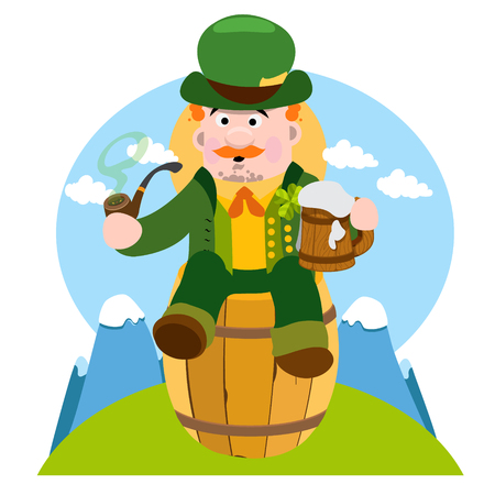 Man in the Irish pub. St. Patrick with a mug of foamy beer. The festive character in cartoon style. Congratulations to the St. Patricks Day.