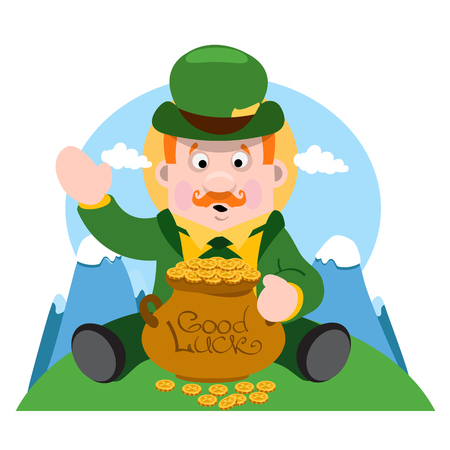 A man with a pot of gold. The festive character in cartoon style. Congratulations to the St. Patricks Day.