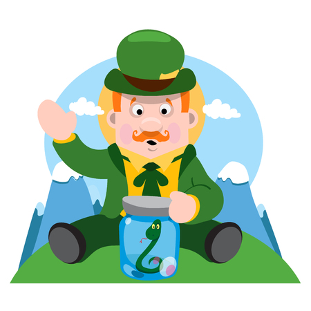 dwarf costume: A man with a snake in a glass jar. The festive character in cartoon style. Congratulations to the St. Patricks Day.