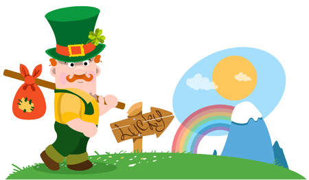 irish landscape: A man with a bundle on a stick. The festive character in cartoon style. Congratulations to the St. Patricks Day.