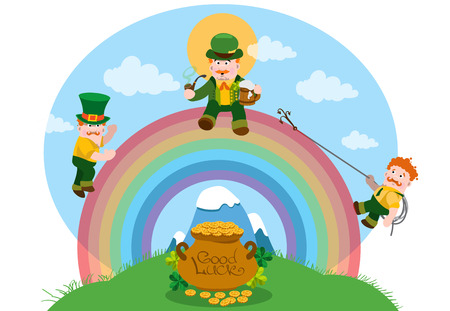irish landscape: Three men dressed in green on a rainbow. The festive character in cartoon style. Congratulations to the St. Patricks Day.